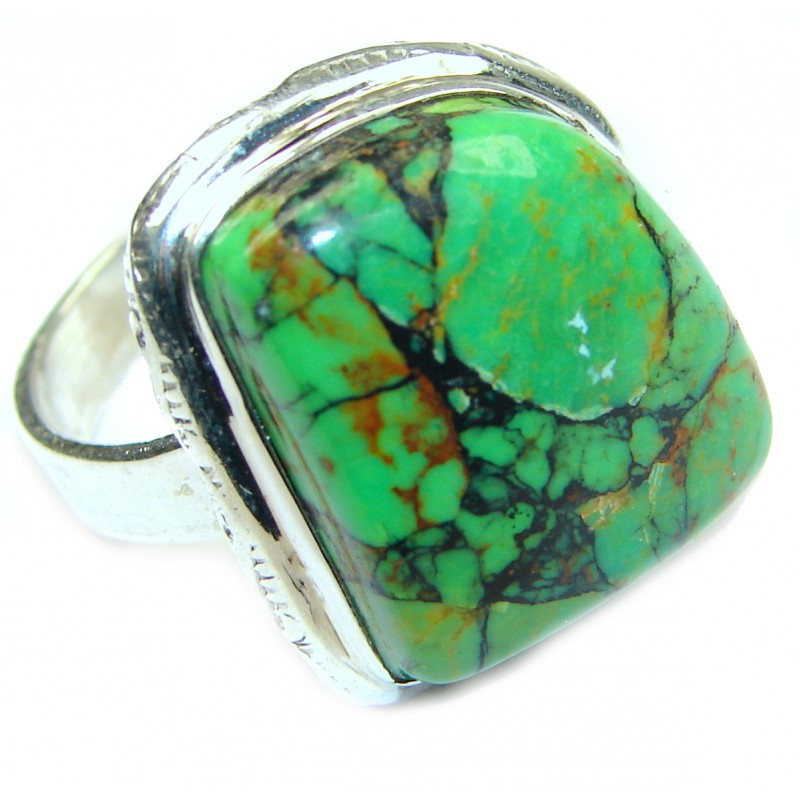 Green Turquoise .925 Sterling Silver handmade Ring s. 7 1/2