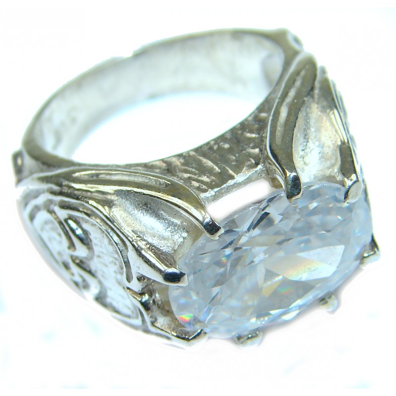 Cubic Zirconia .925 Sterling Silver Cocktail ring s. 6 3/4