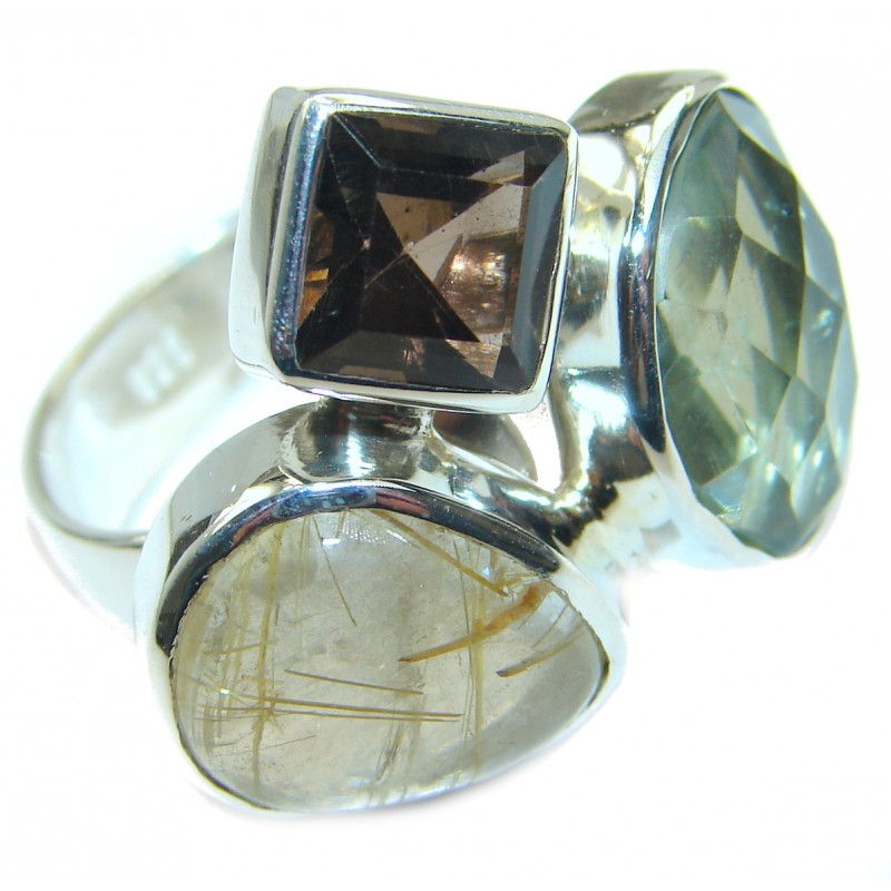 Golden Rutilated Quartz .925 Sterling Silver handcrafted Ring Size 7 adjustable