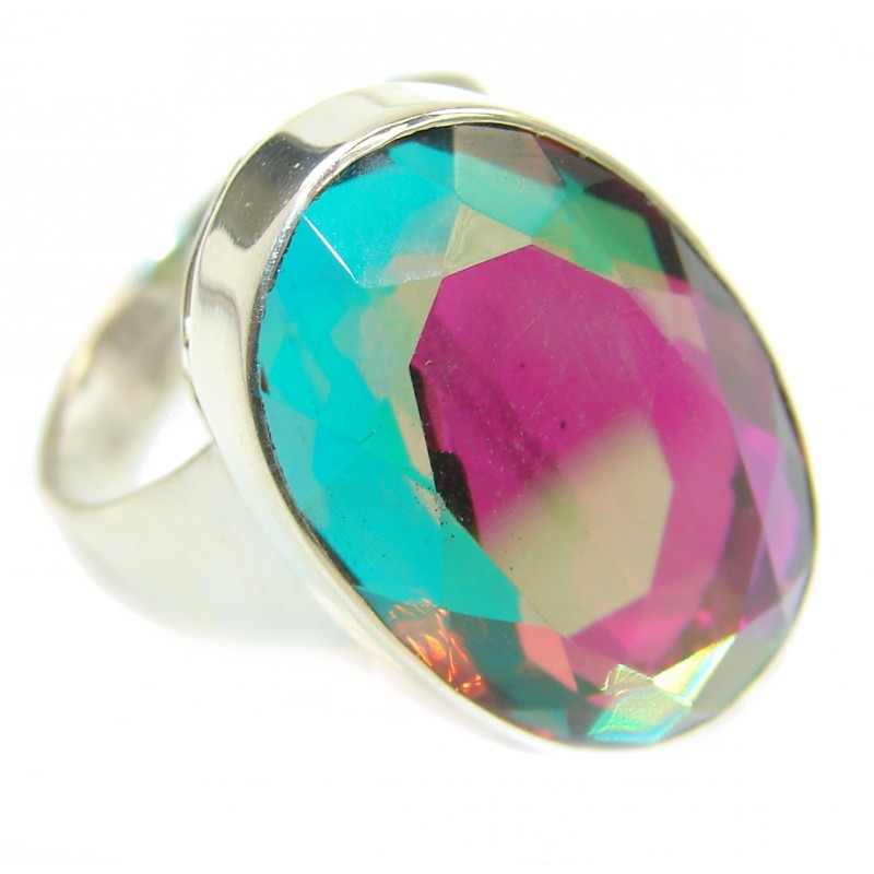 Magic Rainbow Topaz .925 Sterling Silver handmade Ring s. 9