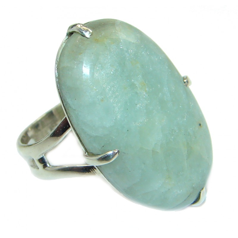 Green Jade Sterling Silver ring s. 9