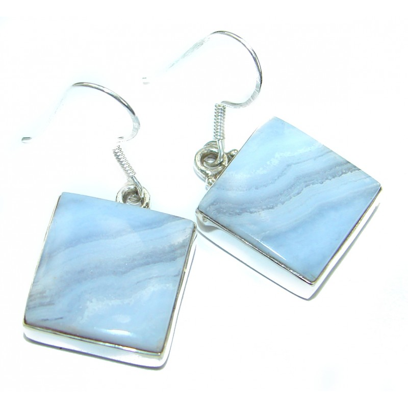 Unique Bohemian Style Crazy Lace Agate .925 Sterling Silver handcrafted Earrings
