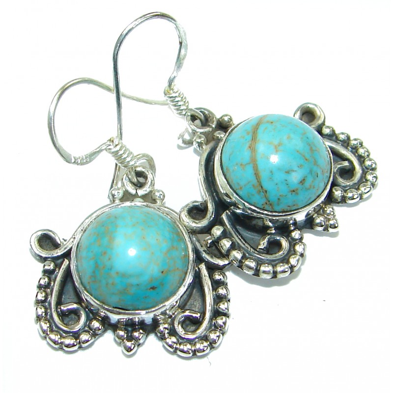 Solid Blue Turquoise .925 Sterling Silver earrings