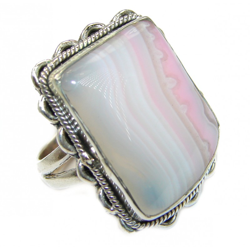 Excellent quality Crazy Lace Agate .925 Sterling Silver Ring s. 7 1/4