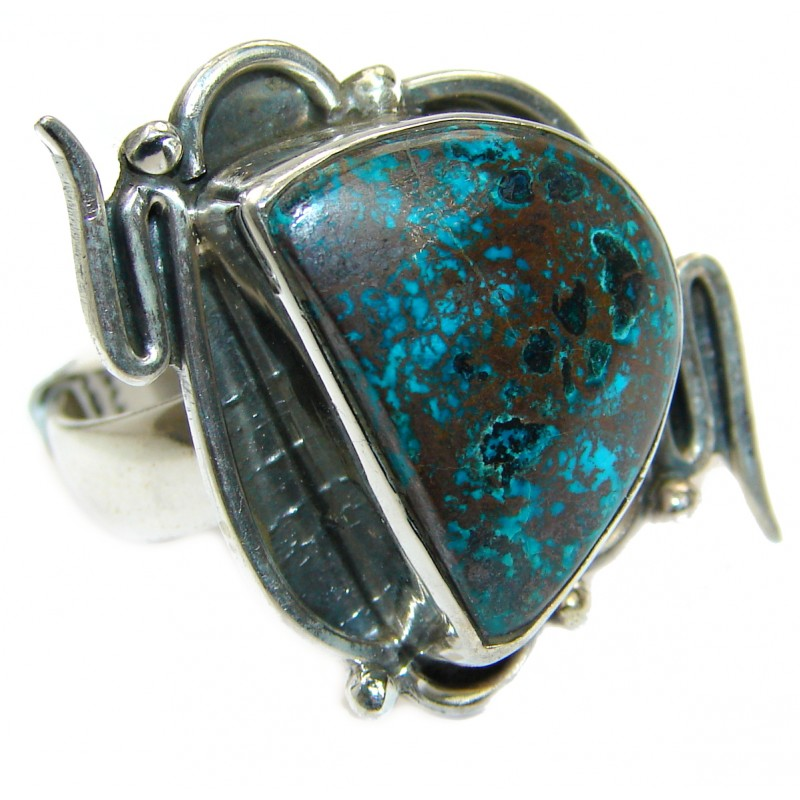 Great quality Blue Azurite .925 Sterling Silver handcrafted Ring size 10