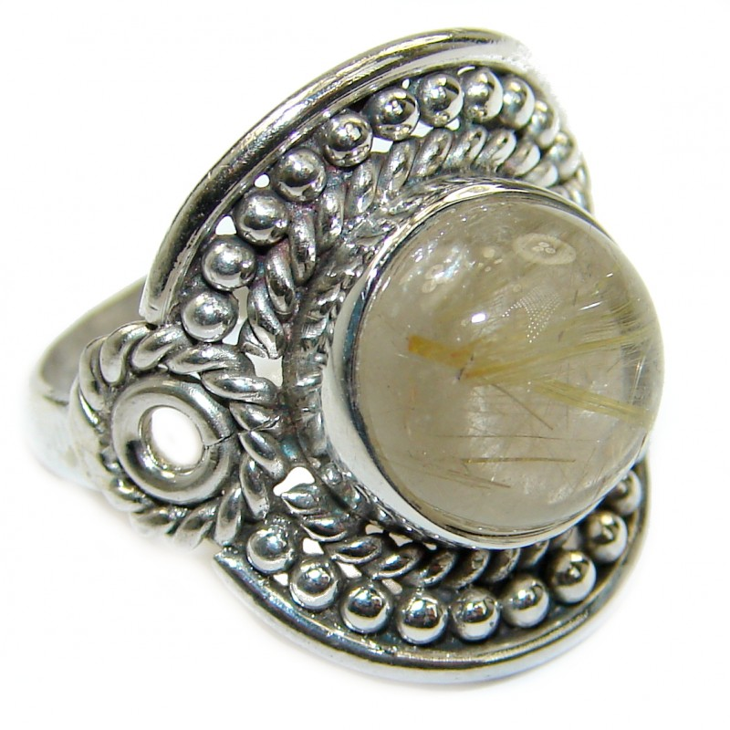 Golden Rutilated Quartz .925 Sterling Silver handcrafted Ring Size 6 1/4