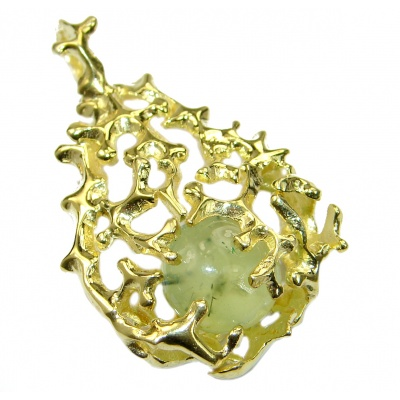 Authentic Prehnite 18K Gold over .925 Sterling Silver handmade pendant