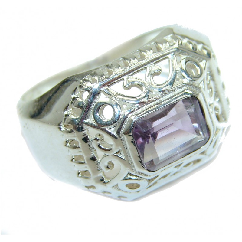 Natural Amethyst .925 Sterling Silver handmade Cocktail Ring s. 8