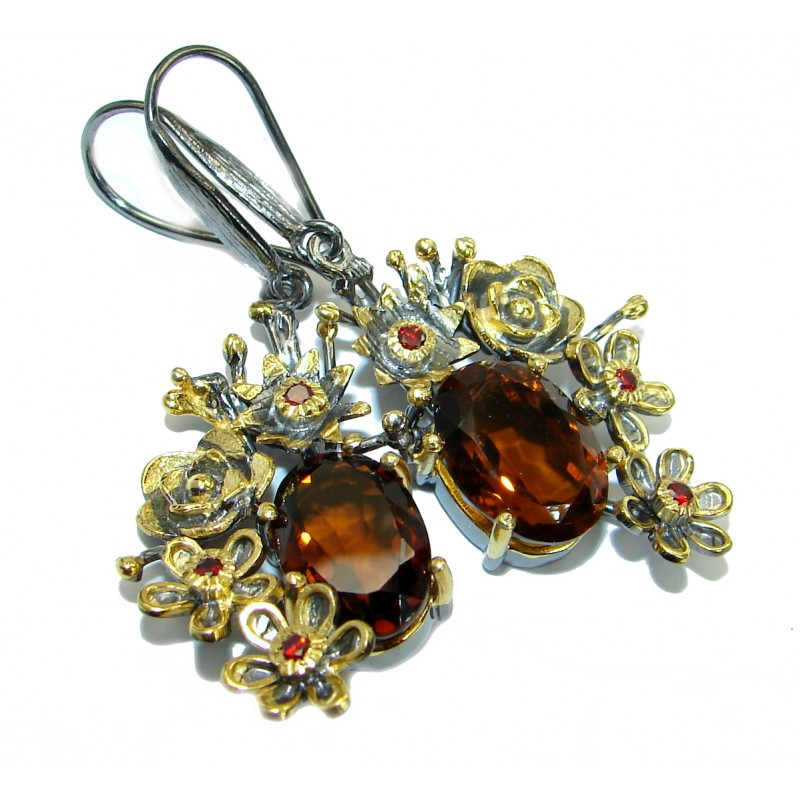 Vintage Style Smoky Topaz 14K Gold over .925 Sterling Silver handmade earrings