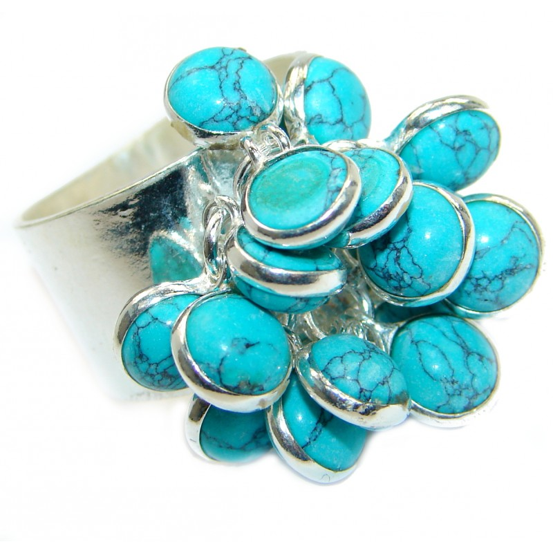 Green Turquoise .925 Sterling Silver handmade Ring s. 8