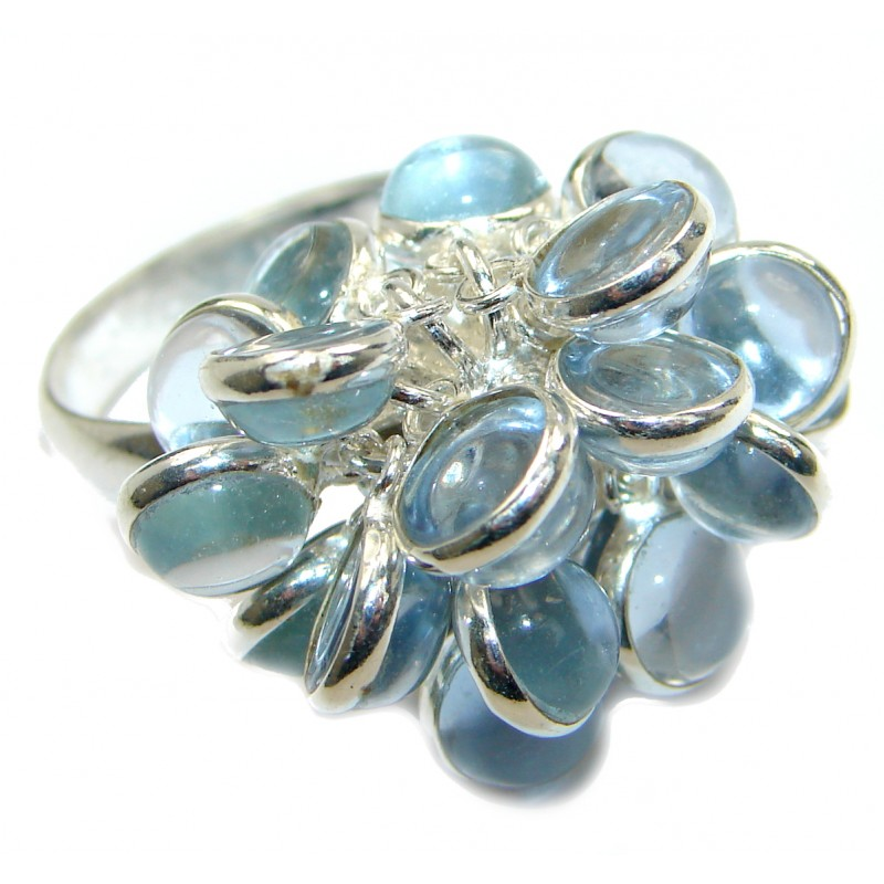 Blue Quartz .925 Sterling Silver ring s. 9 3/4