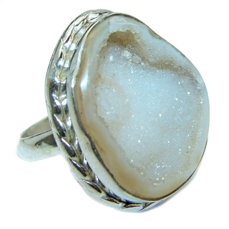 Exotic Druzy Agate .925 Silver Ring s. 9