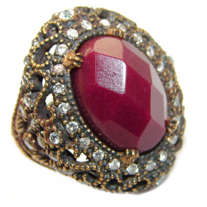 Large Victorian Style created Ruby Two Tones .925 Sterling Silver ring; s. 8