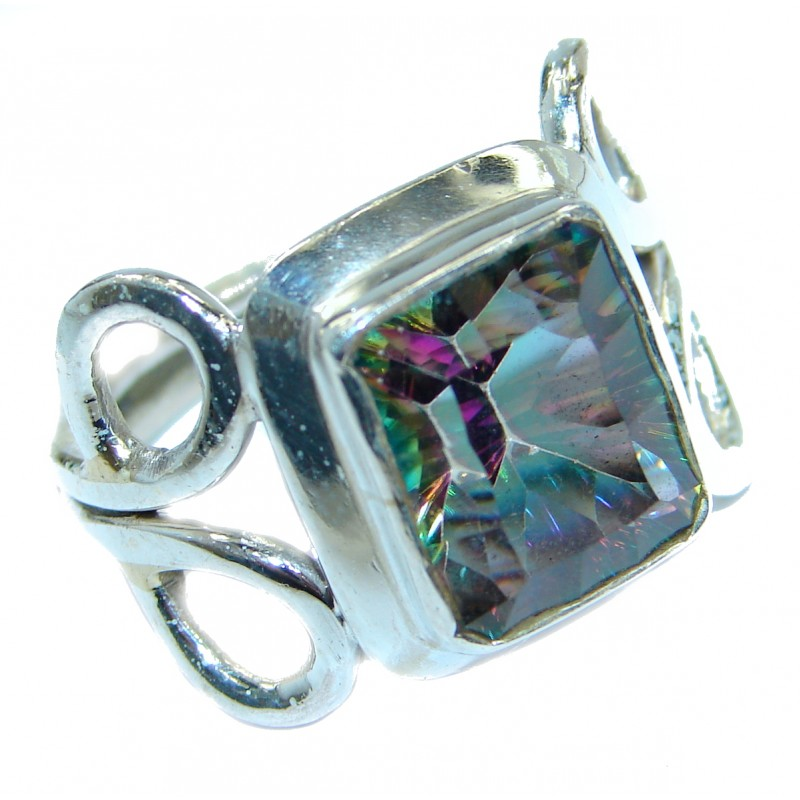 Magic genuine Topaz .925 Sterling Silver handmadel Ring s. 9 1/4