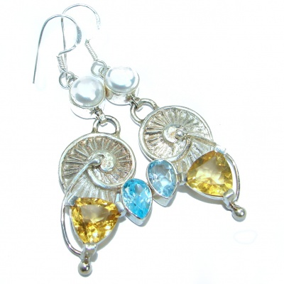 Rich Design Citrine .925 Sterling Silver handcrafted earrings