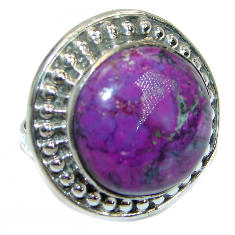 Huge Purple Turquoise .925 Sterling Silver ring; s. 7 1/4