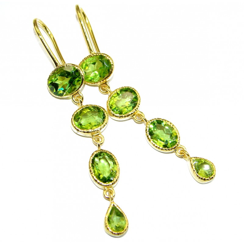 Rich Design Peridot Gold over .925 Sterling Silver handcrafted earrings