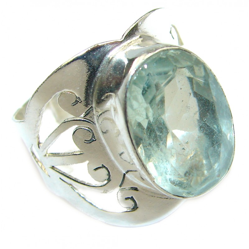Natural Green Amethyst Gold over .925 Sterling Silver handmade Cocktail Ring s. 8 1/4
