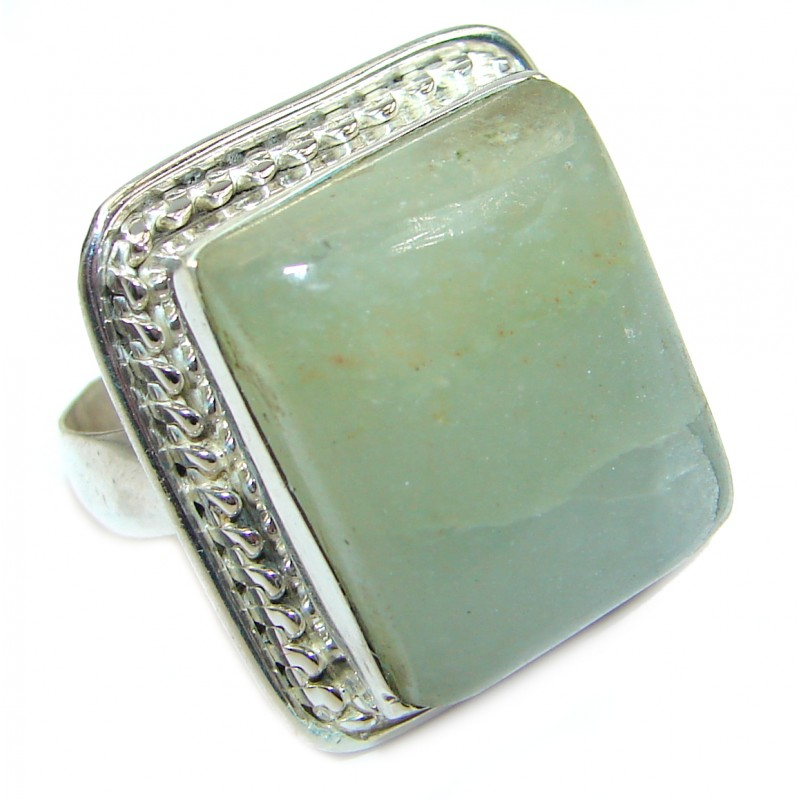 Green Jade Sterling Silver ring s. 8