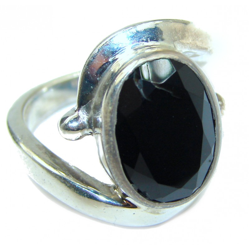 Majestic Authentic Onyx .925 Sterling Silver handmade Ring s. 8 1/4