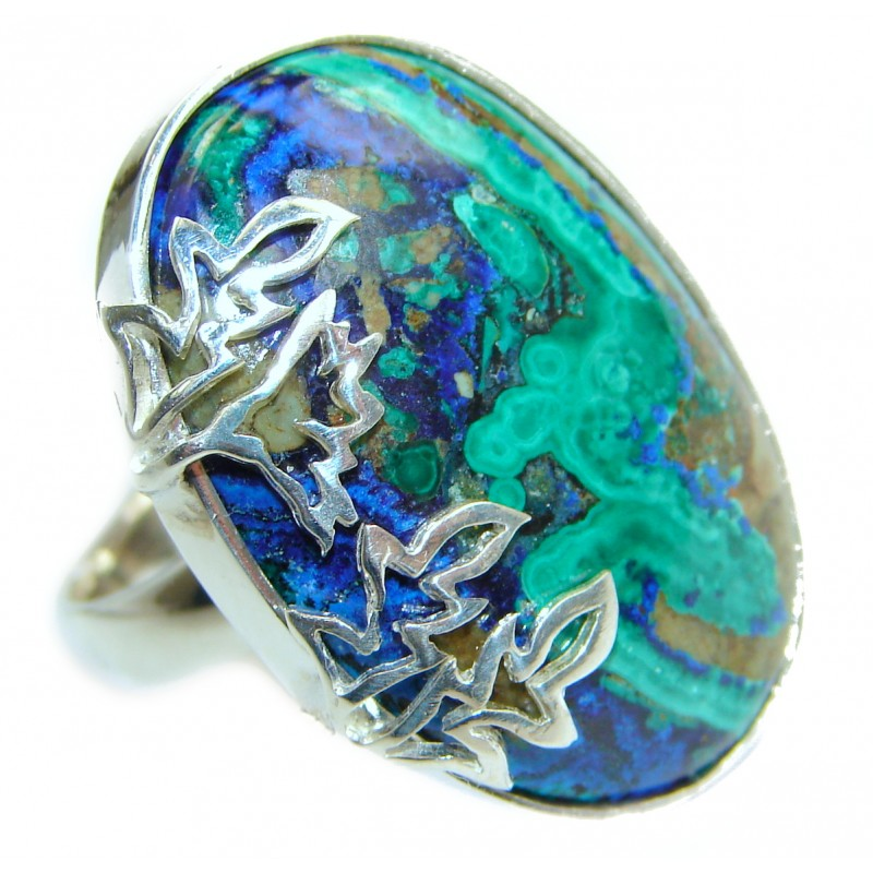 Great quality Blue Azurite .925 Sterling Silver handcrafted Ring size 8