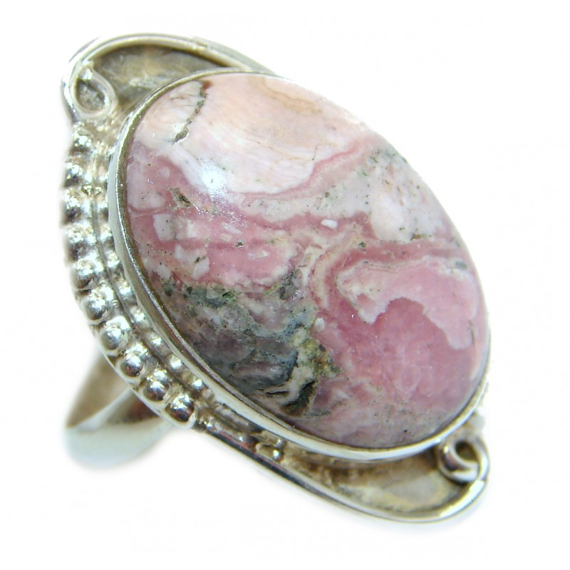 Top Quality Rhodochrosite .925 Sterling Silver handmade ring size 10