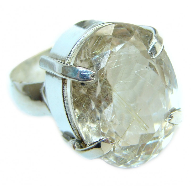 White Topaz .925 Sterling Silver handmade Statement Ring s. 9 1/4