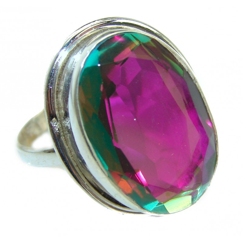 Magic Rainbow Topaz .925 Sterling Silver handmade Ring s. 9 1/4