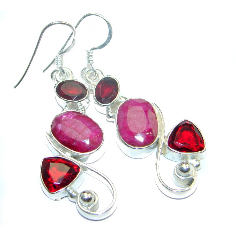 Unique Ruby .925 Sterling Silver handmade earrings