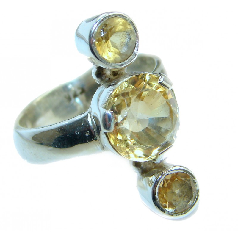 Natural 57.5 ct. Citrine .925 Sterling Silver Ring s. 8