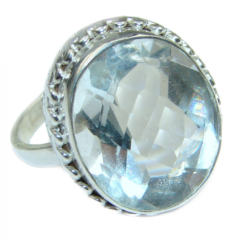White Topaz .925 Sterling Silver handmade Statement Ring s. 7 1/4