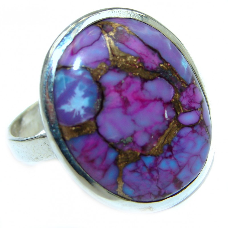 Huge Purple Turquoise .925 Sterling Silver ring; s. 10