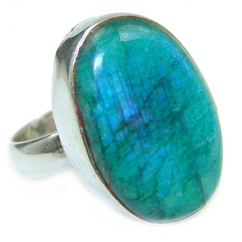 Large Fire Labradorite .925 Sterling Silver handmade ring size 7
