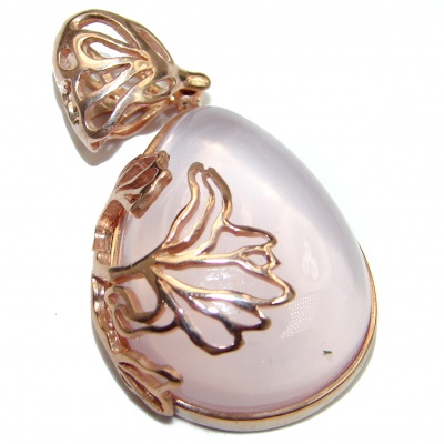Timeless Beauty Rose Quartz 896ct Rose Gold over .925 Sterling Silver handcrafted Pendant