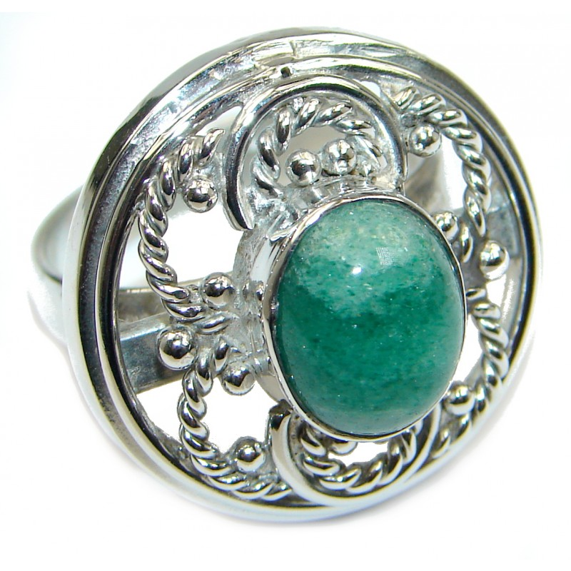 Green Jade Sterling Silver ring s. 9 1/4