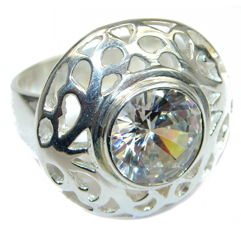 White Topaz .925 Sterling Silver handmade Statement Ring s. 9