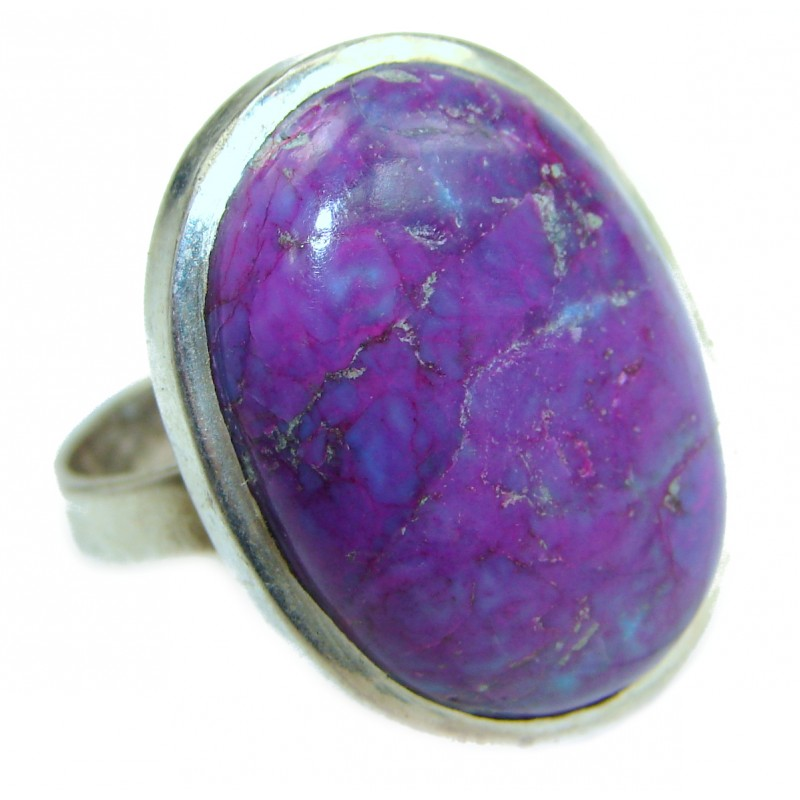 Huge Purple Turquoise .925 Sterling Silver ring; s. 9