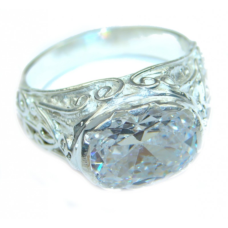 Ultra Fancy Cubic Zirconia .925 Sterling Silver Cocktail ring s. 9 3/4