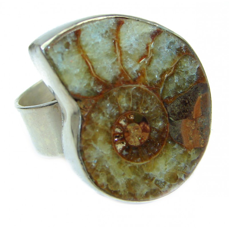 Stylish Brown Ammonite Fossil Sterling Silver Ring s. 6 3/4