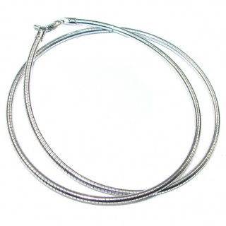 Round Omega Sterling Silver Chain 20'' long, 3 mm wide