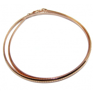 Omega Rose Gold over Sterling Silver Chain 18'' long, 3 mm wide
