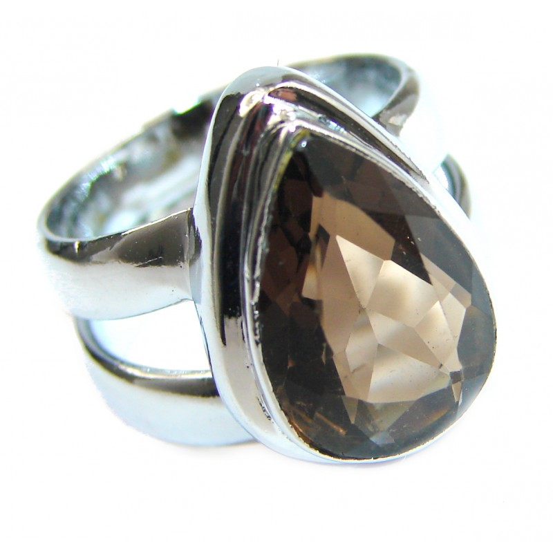 Incredible Smoky Quartz .925 Sterling Silver Ring s. 6