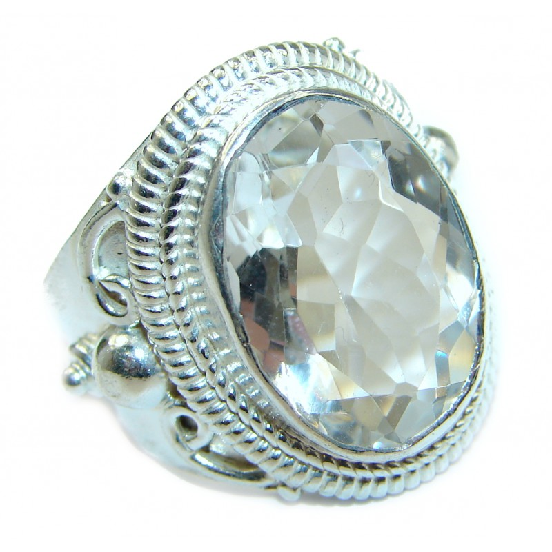 White Topaz .925 Sterling Silver handmade Statement Ring s. 12
