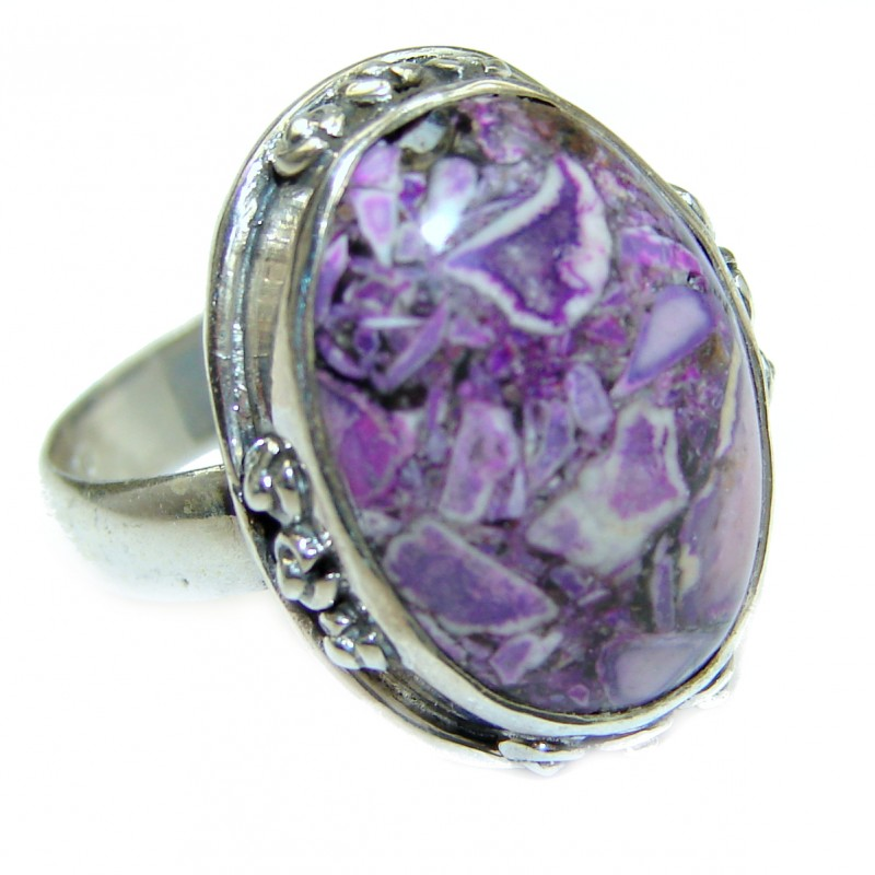 Purple Crinoid Fossil .925 Sterling Silver ring; s. 7 3/4