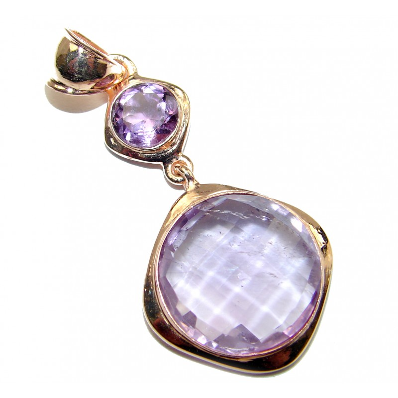 Genuine Amethyst 14K Gold over .925 Sterling Silver handmade Pendant