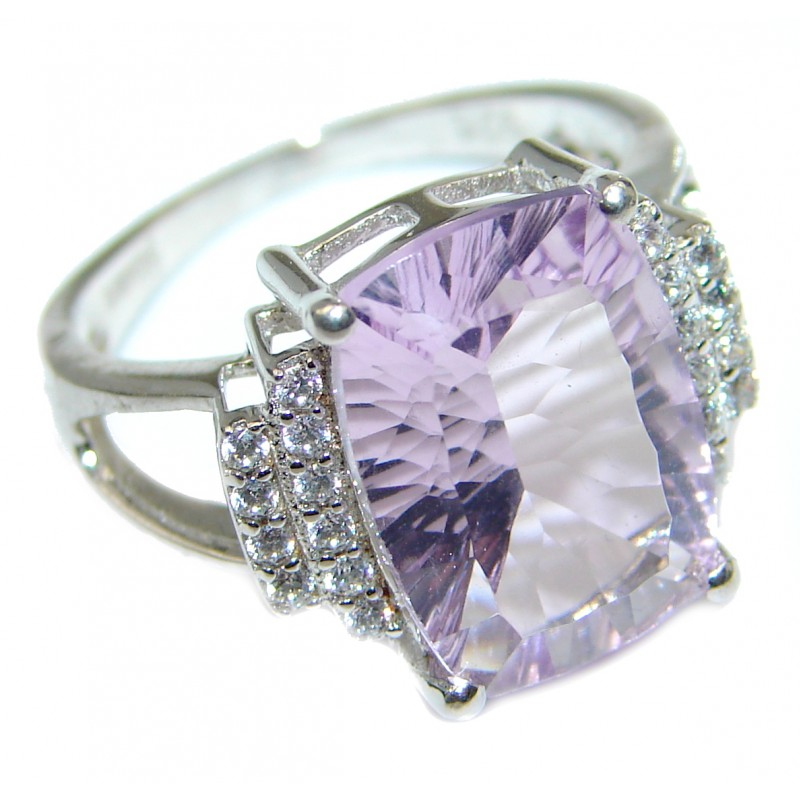 Authentic Pink Amethyst .925 Sterling Silver handmade ring size 8