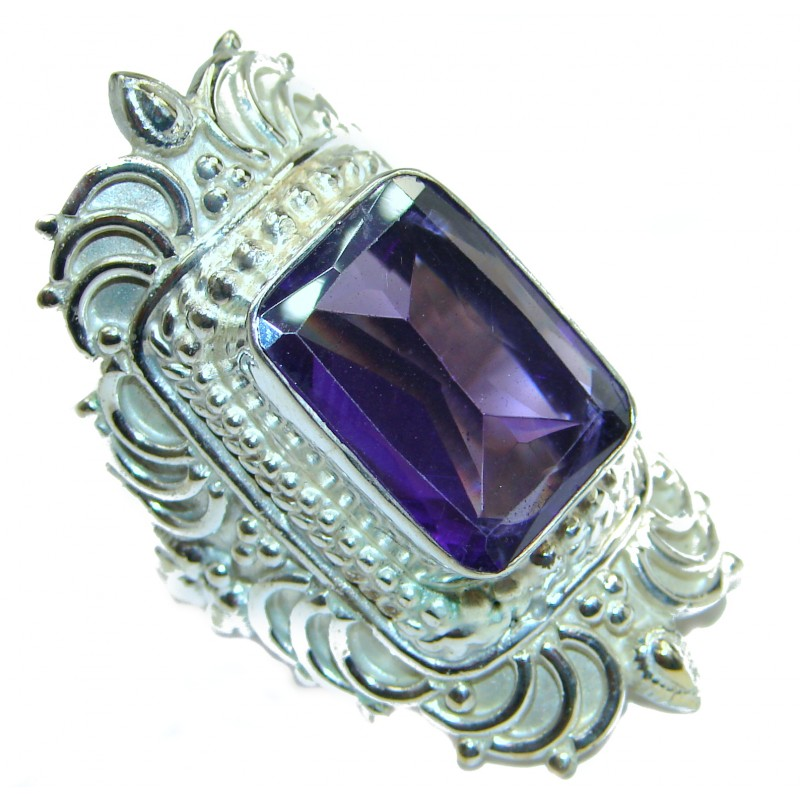 Incredible Purple Quartz .925 Sterling Silver Ring s. 9
