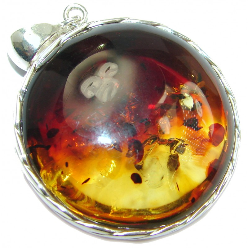Huge Honey Moon Natural Baltic Amber .925 Sterling Silver handmade Pendant