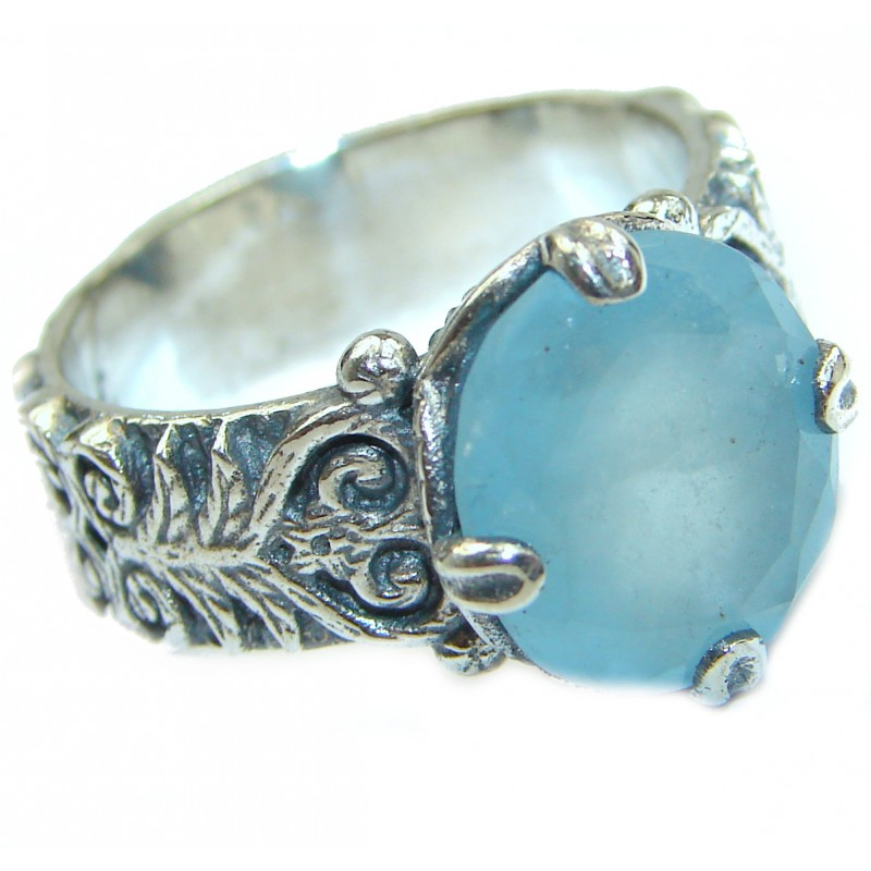 Antique Design Blue Aquamarine .925 Sterling Silver handmade ring s. 8