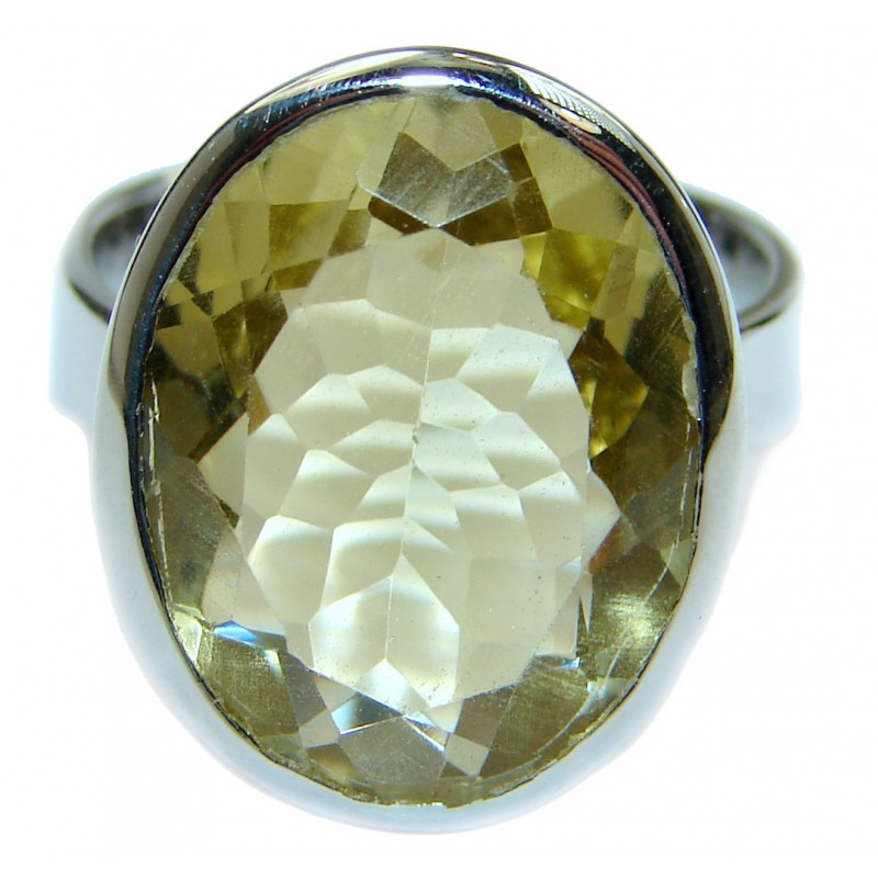 Natural Citrine .925 Sterling Silver handcrafted Ring s. 6